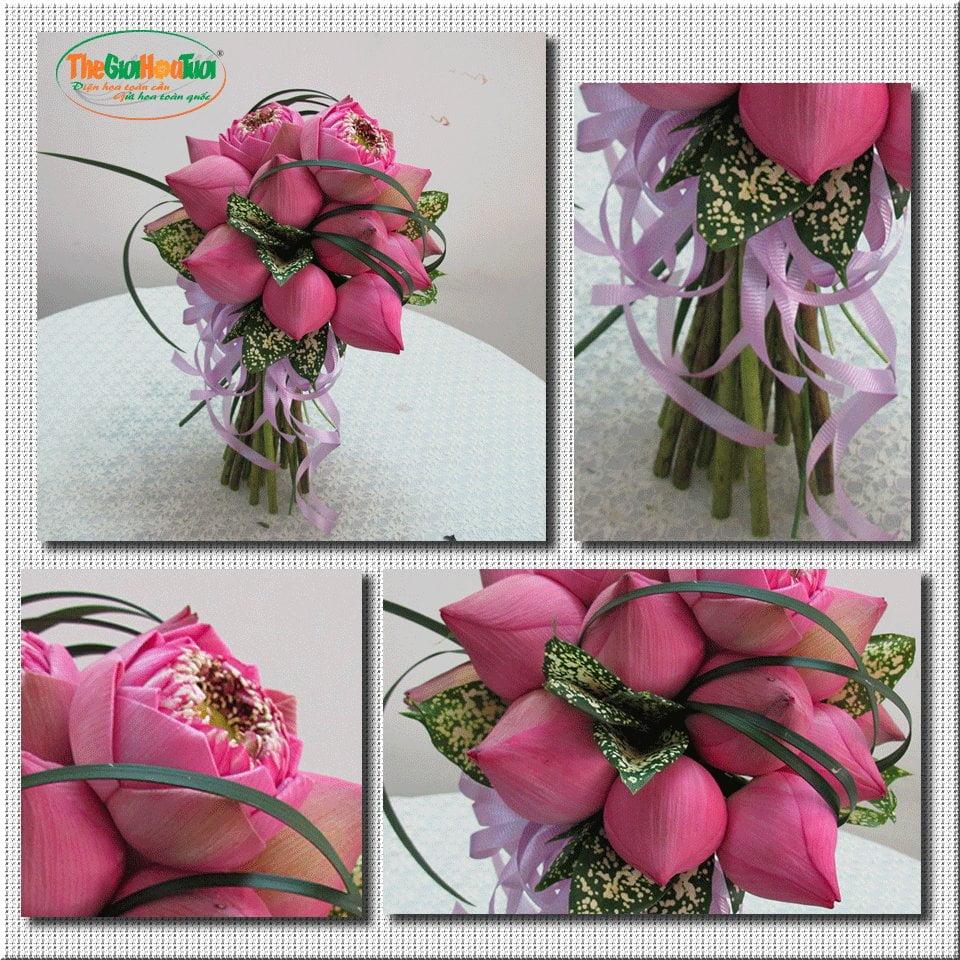 Bó hoa sen hoa cưới