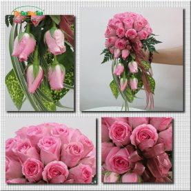 Giới thiệu: Bó hoa này là đặc biệt và tự nhiên trong màu hồng, hoa hồng màu hồng xinh đẹp và lá tạo ra một bó hoa tinh khiết và thanh lịch.