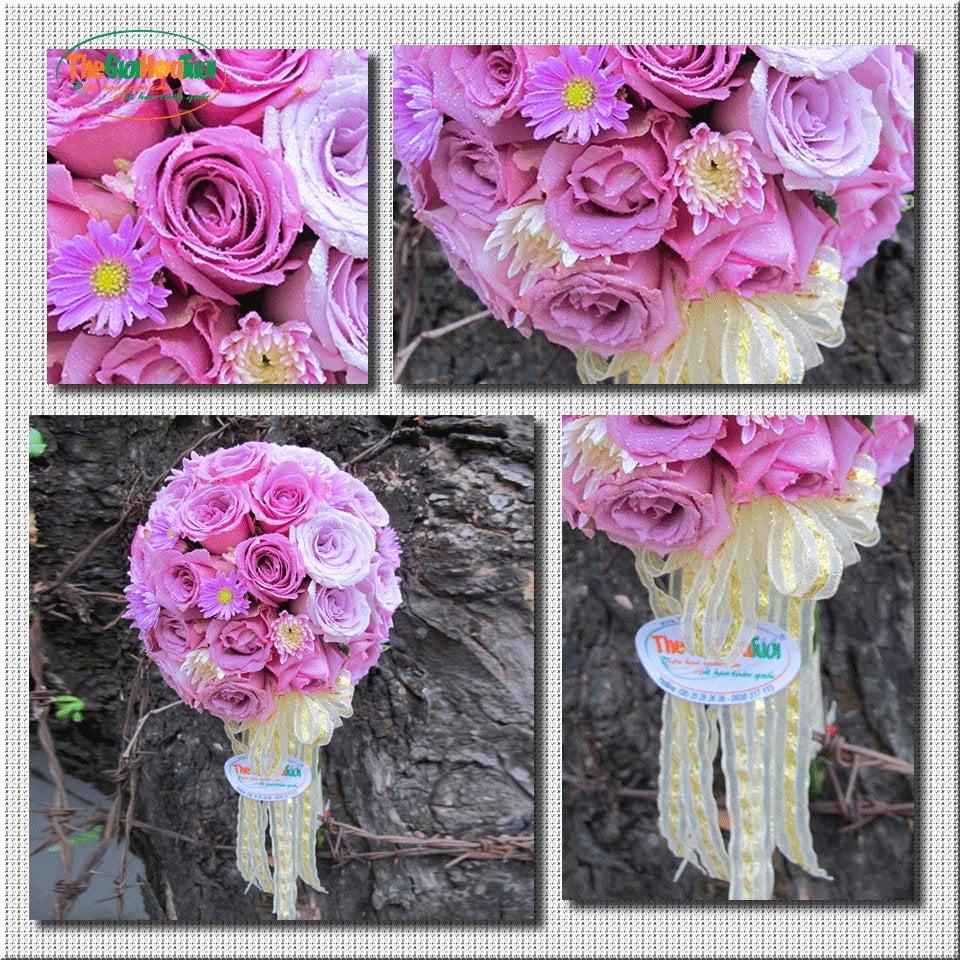 Bó hoa cầm tay cô dâu màu tím