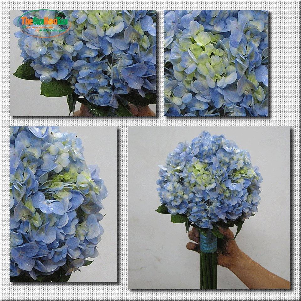 Bó hoa cưới cẩm tú cầu