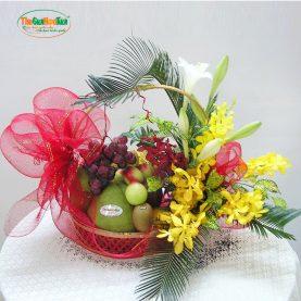 Giỏ hoa và trái cây tươi thiết kế sang trọng
