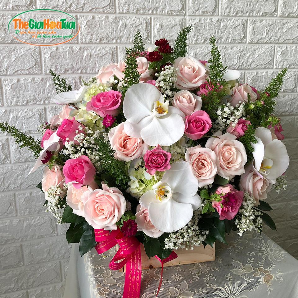 Giỏ hoa hồng - Điều Ngọt Ngào - TGHT-20019