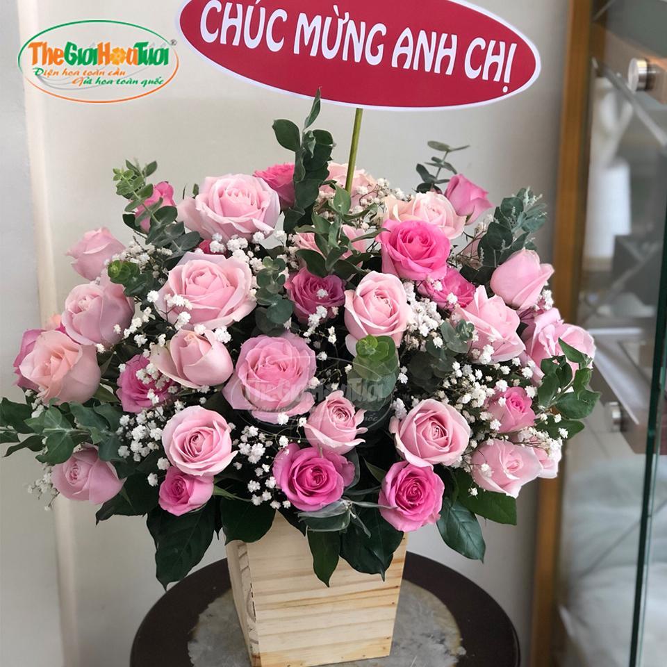 Giỏ hoa hồng - Mây Hồng - TGHT-20022