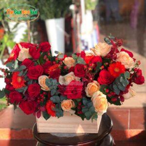 Giỏ hoa - Gõ cửa trái tim