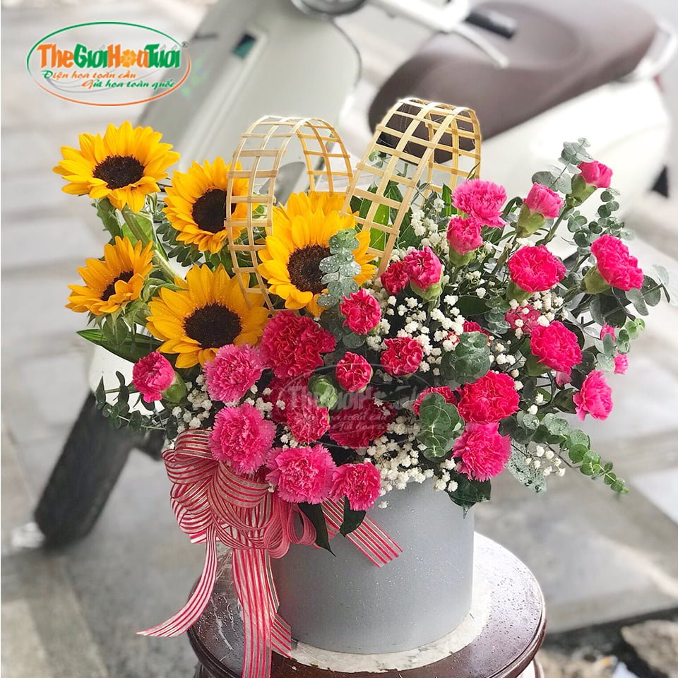 Giỏ hoa-Hạnh phúc muôn màu-TGHT-20038